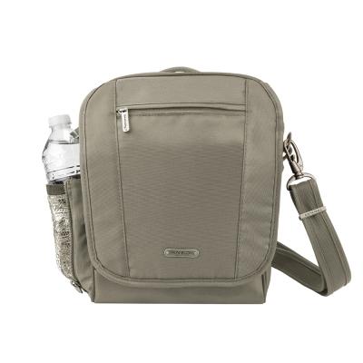 Travelon美國防盜包 防盜防割鋼網RFID小方形肩包 TL-42472-13 灰