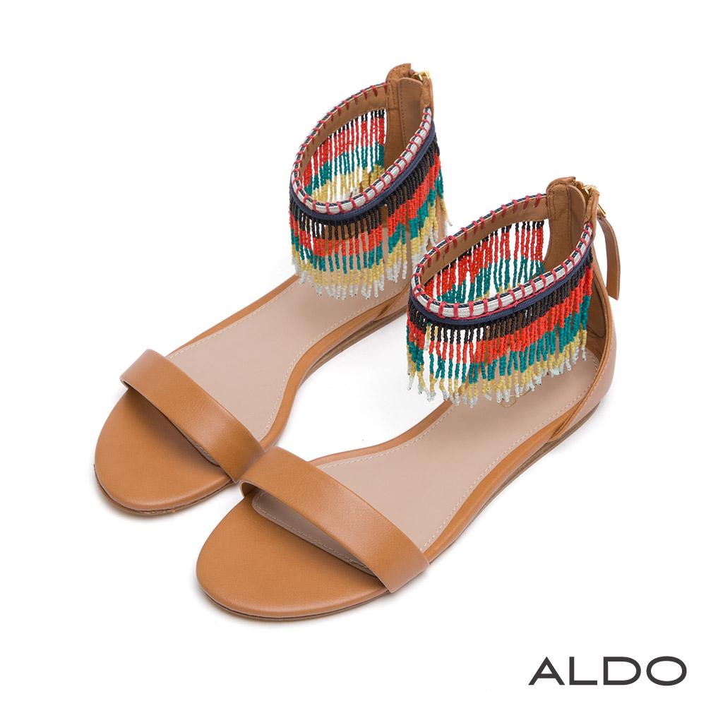 ALDO 原色一字彩色流蘇繫踝涼鞋~個性焦糖