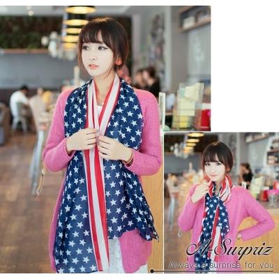 A-Surpriz 美國國旗雪紡紗圍巾(藍紅)