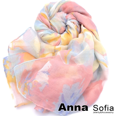 AnnaSofia-花繪馨香-加大加寬圍巾-桔粉系