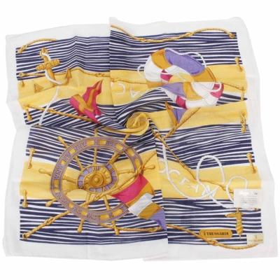 TRUSSARDI-海洋風情純棉領帕巾-黃