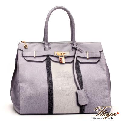 F-A-Y-E-港版TATA印刷-皇家徽章柏金包-條紋粉紫