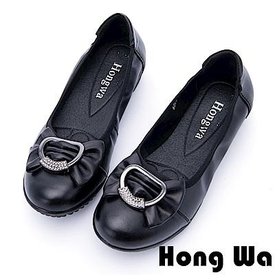 Hong Wa - 甜美大蝴蝶結牛皮水鑽娃娃鞋 - 黑