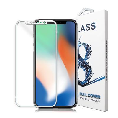 GLA iPhone X 4D滿版9H鋼化玻璃膜(白)