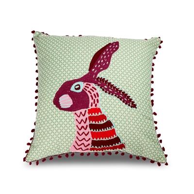 Karma-印度手工拼布動物靠墊(邦尼兔)-含芯