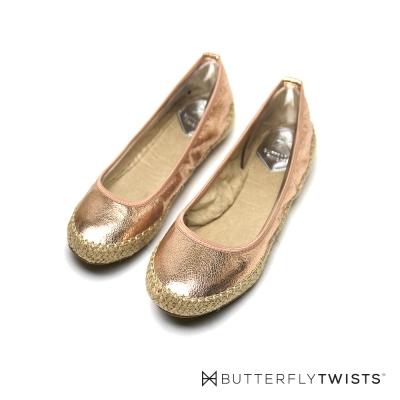 BUTTERFLY TWISTS-仿草編 記憶軟墊平底鞋-玫瑰金