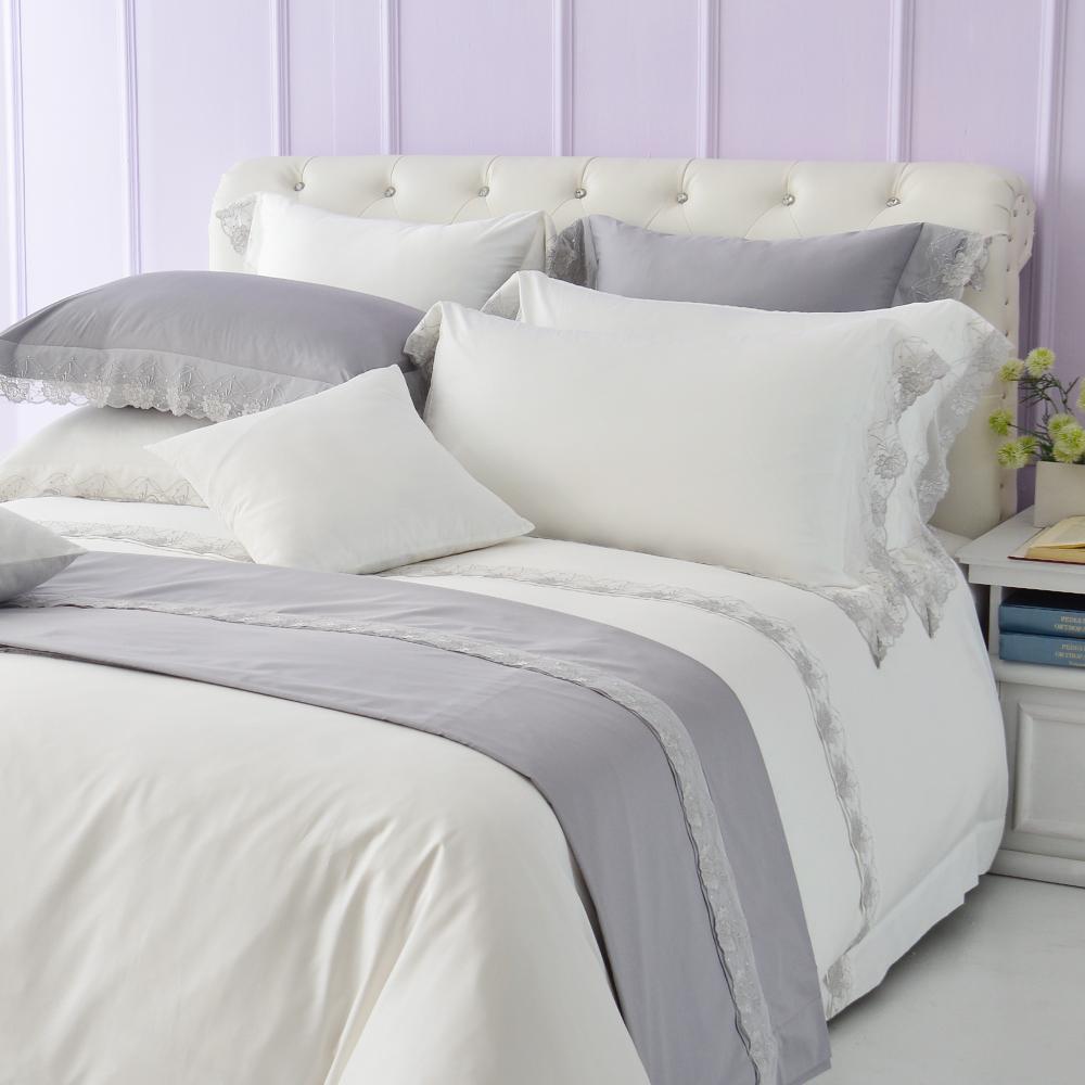 Cozy inn 倒影-純白 加大四件組 300織精梳棉薄被套床包組