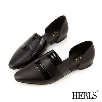 HERLS~全真皮 知性俐落 鏤空尖頭平底鞋~黑色