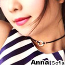 AnnaSofia 涉谷圈型飾雙皮繩 925純銀鎖骨頸鍊CHOKER