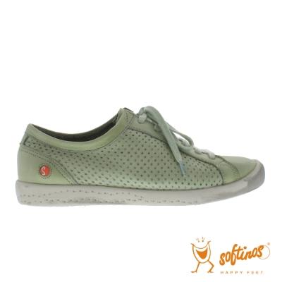 SOFTINOS (女) 微風甜甜 網狀牛皮透氣綁帶平底休閒鞋 - 快樂淺綠