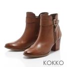 KOKKO-精品質感擦色牛皮粗跟短靴-潮流咖