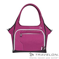 Travelon美國防盜包 休閒/旅遊/公事防割鋼網托特包TL-42812-15莓紅