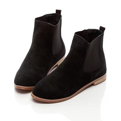 Entifa-韓流進擊-牛麂皮質感拼接鬆緊短靴-黑色