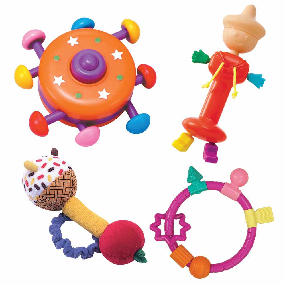 【日本People】小太郎+環狀手搖鈴固齒+彩色飛碟+手環手搖鈴