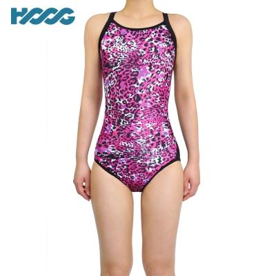 韓國HOOG 連身挖背泳裝WRA680 豹紋桃紅
