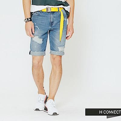 H:CONNECT 韓國品牌 男裝-破壞設計牛仔短褲-藍