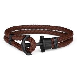 PAUL HEWITT德國出品 PHREP 棕色皮革繩編織 黑色船錨手環 手鍊