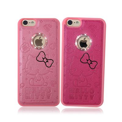 正版授權Hello Kitty iPhone 7 凱蒂貓星鑽金莎手機殼(蝴蝶結)
