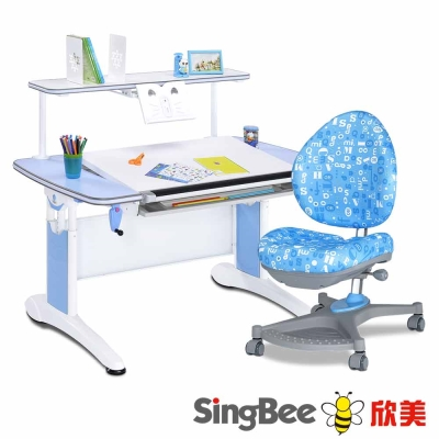 SingBee欣美皇家全能桌+皇家上層書架+138卓越椅-122x77x75cm