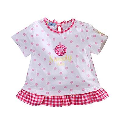 純棉荷葉下襬點點短袖T恤  k50784 魔法Baby