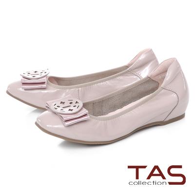 TAS 優雅飾花蝴蝶結內增高娃娃鞋-氣質灰
