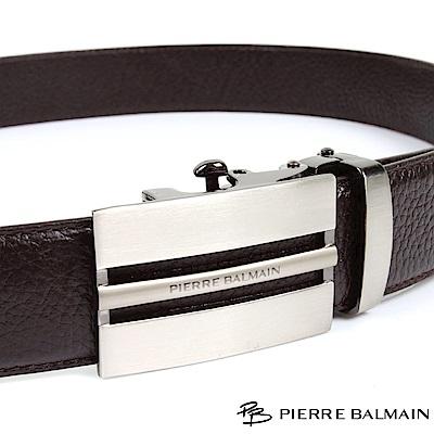 PB 皮爾帕門-經典方切框中細橫Logo款-頭層牛皮自動扣皮帶-701-咖