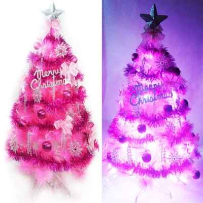 台製4尺(120cm)特級粉紅色松針葉聖誕樹(銀紫色系+100燈LED燈粉紅白光1串)
