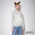 gozo 運動風經典標語造型長袖上衣 (二色)