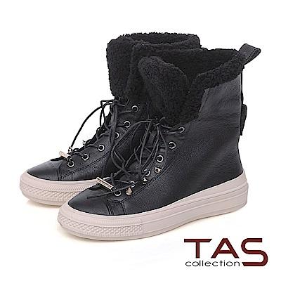 TAS 兩穿式短毛滾邊綁帶牛皮中筒靴-質感黑