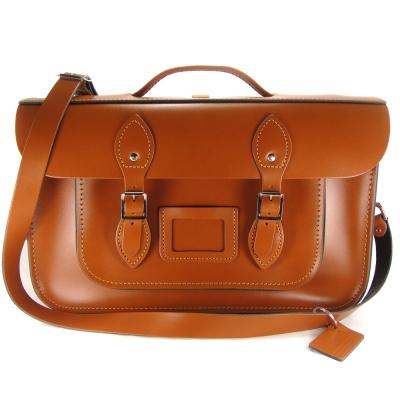 The Leather Satchel 英國手工牛皮劍橋包 肩背後背包 倫敦棕 15吋