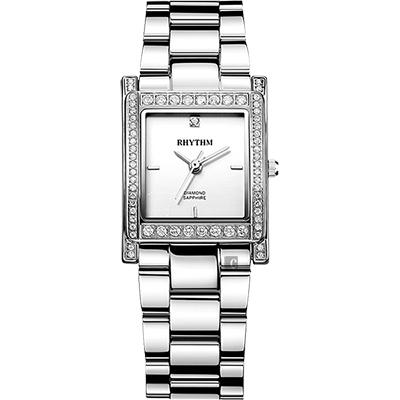 RHYTHM日本麗聲 古典方型晶鑽女錶-銀/23mm L1204S01