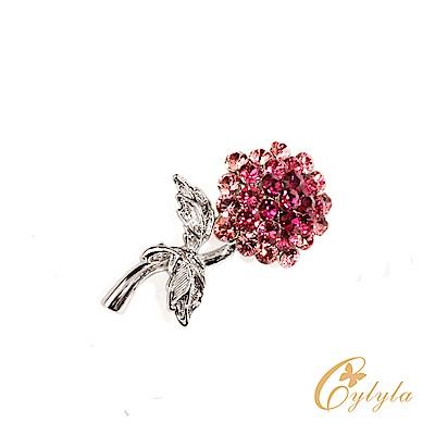 Cylyla思琳娜 施華洛世奇元素捧花朵朵粉水晶胸針別針B10823G