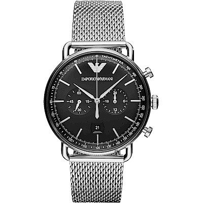 Emporio Armani Dress 亞曼尼計時手錶~黑x銀 42mm