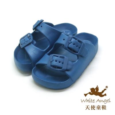 天使童鞋 M841A 記憶型氣墊拖鞋-藍
