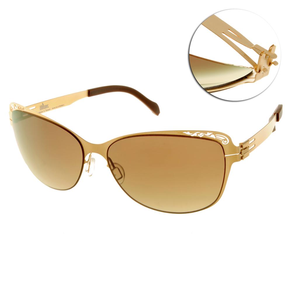 Whisper太陽眼鏡 薄翼鏡框/霧金-咖啡#WHM1331S C37