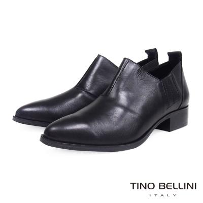 Tino-Bellini-義大利摩登雅痞女郎低跟皮鞋-黑