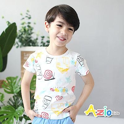 Azio Kids 童裝-上衣 房子蝸牛塗鴉印花短袖T恤(白)