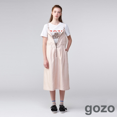 gozo 無畏80文青麻質吊帶裙(二色)-動態show