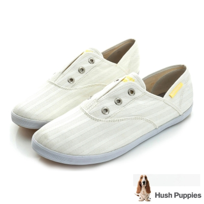 Hush Puppies 無印風網條咖啡紗懶人帆布鞋-白色