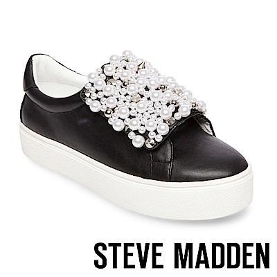 STEVE MADDEN-LION 珍珠鉚釘鑲嵌厚底懶人鞋-黑色