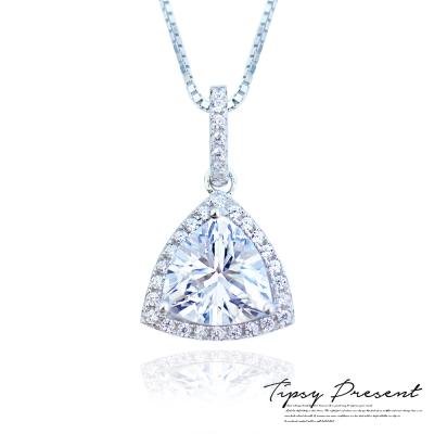 微醺禮物 項鍊 925銀鍍白金 鋯石 三角鑽 項鍊