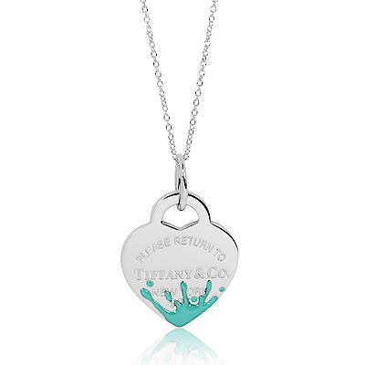 Tiffany&Co. Return to Tiffany 愛心刻字色彩水花造型純銀項鍊