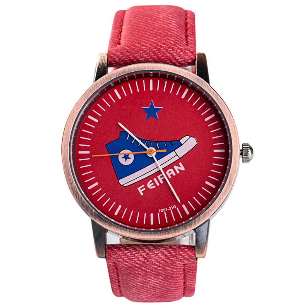 Watch-123 大步向前-復古圖案單寧休閒腕錶/40mm