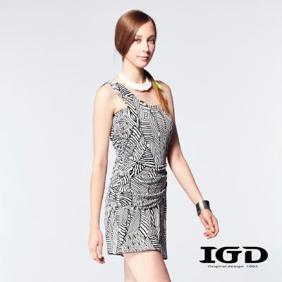 IGD英格麗-黑白斑馬紋單肩修身小洋裝-黑