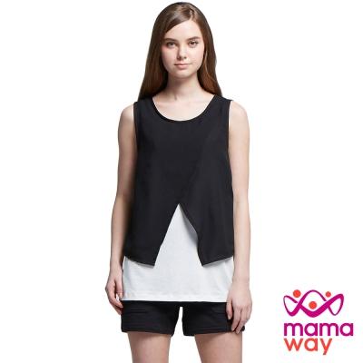 孕婦裝 哺乳衣 無袖拼疊雙色雪紡上衣(共二色) Mamaway