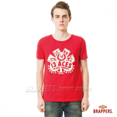 BRAPPERS 男款 撲克牌印花短袖T恤-紅