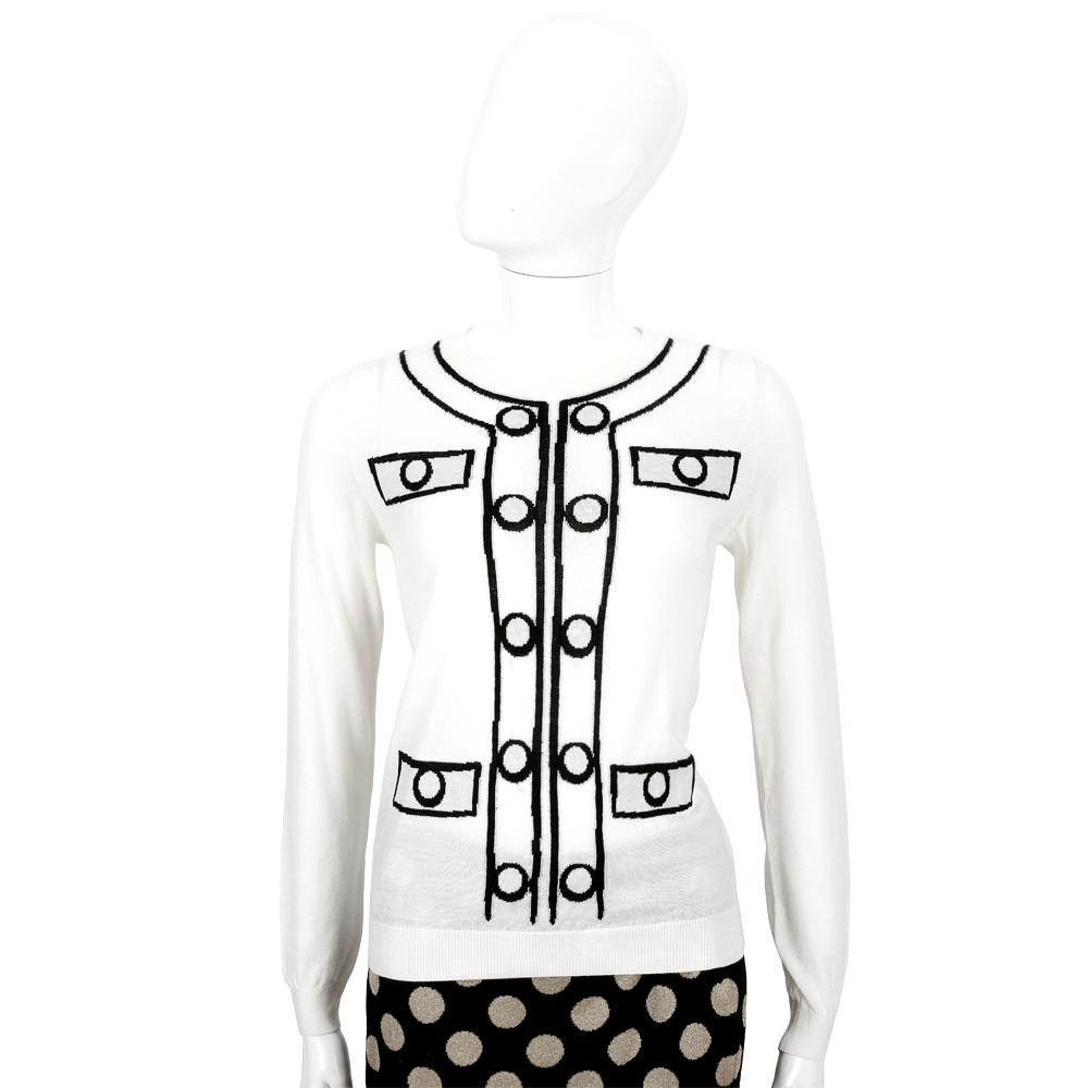 BOUTIQUE MOSCHINO 白色釦飾織紋羊毛長袖上衣