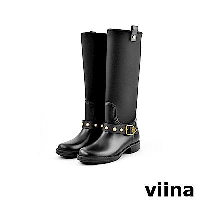 viina 時尚珍珠高筒雨靴-黑