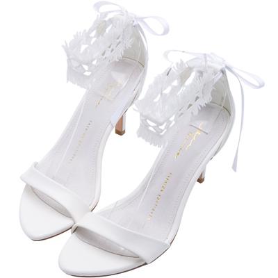 AIR SPACE CHIAO聯名蕾絲綁帶兩穿高跟鞋(白)