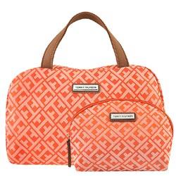 TOMMY 橘色LOGO織紋手提包-附化妝包